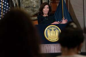 Gov. Kathy Hochul answers questions from the press as she holds a COVID-19 briefing at the Capitol on Tuesday, Oct, 5, 2021 in Albany, N.Y.