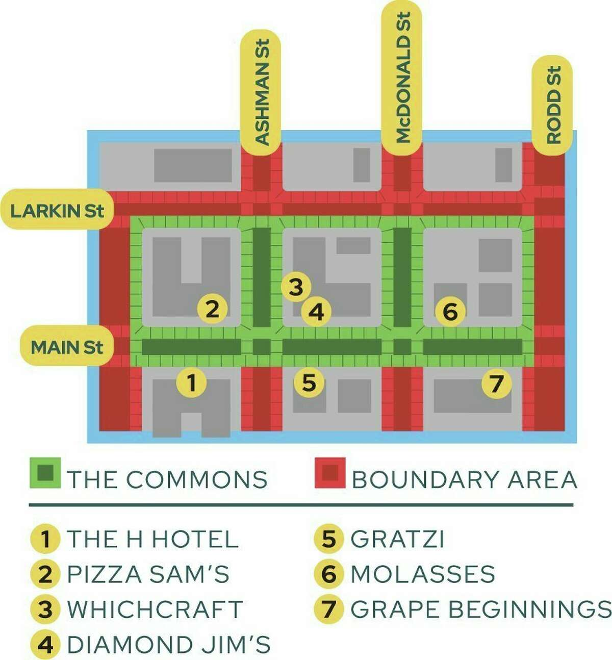 Downtown Midland's Commons area boundaries extend from Gordon Street to Rodd Street and Main Street to Larkin Street. (Image provided)