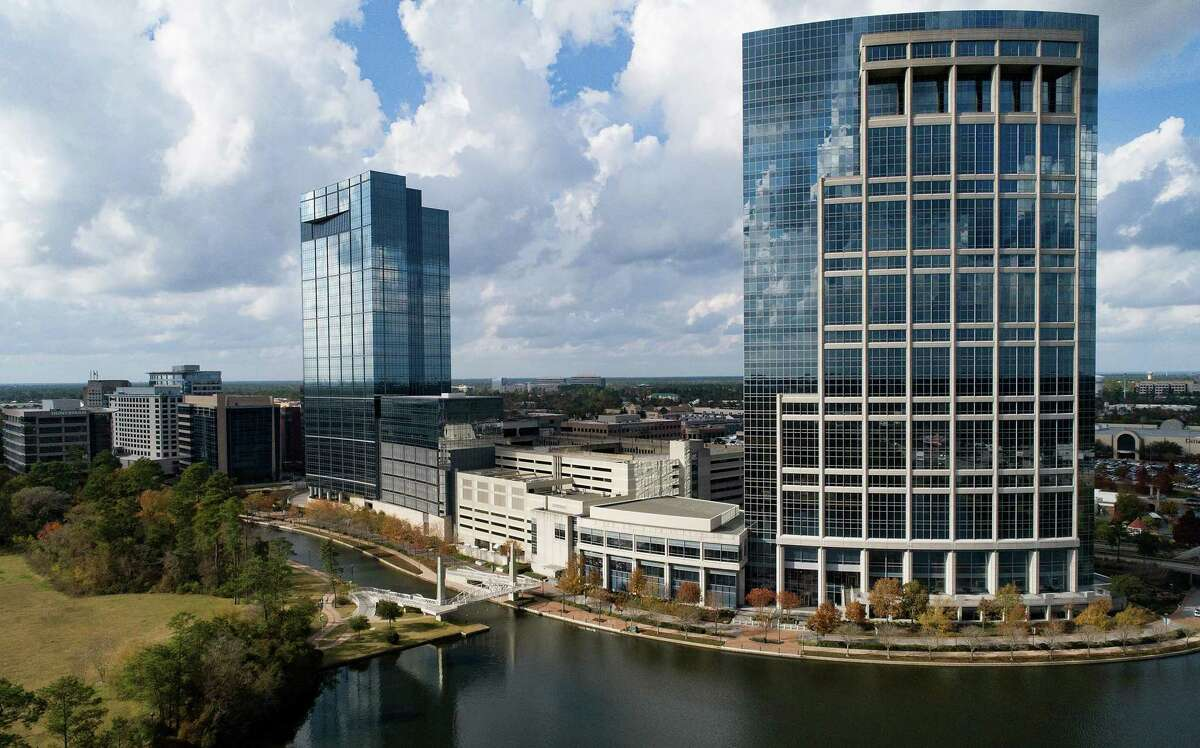 Office buildings along the Woodlands Waterway in The Woodlands on Wednesday, Dec. 23, 2020.
