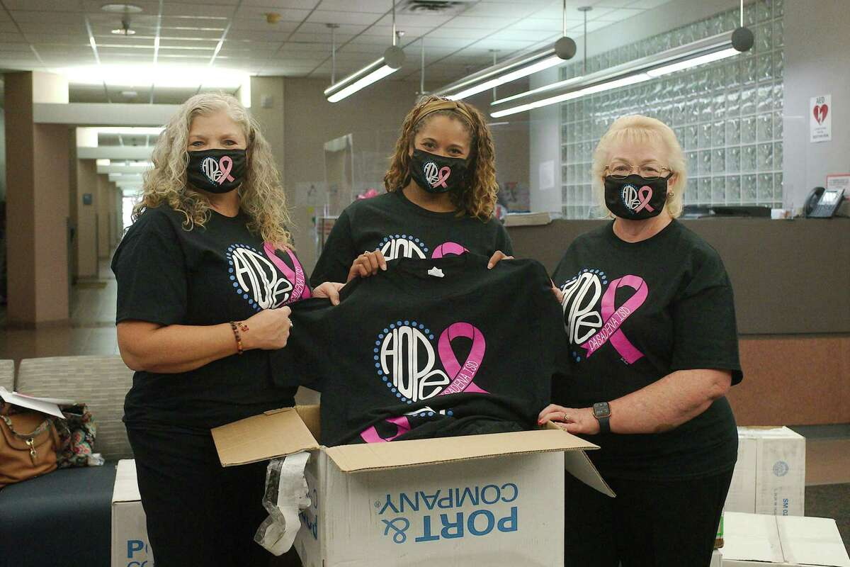 Marsha Jones, Amber Morris and Diane Wheeler chair the annual Pasadena ISD Komen Campaign to raise funds in the fight against breast cancer. This year, the campaign has orders for 3,000 T-shirts.