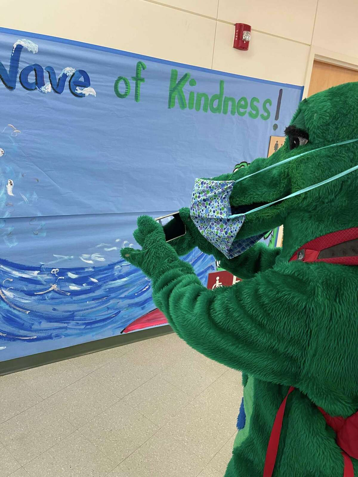 Snappy's Day at Glenville School took him everywhere and he documented his day with photos on the district's Twitter account.