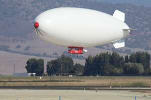 An LTA Research airship was spotted landing at the Salinas Municipal Airport on Sunday, October 3, 2021.
