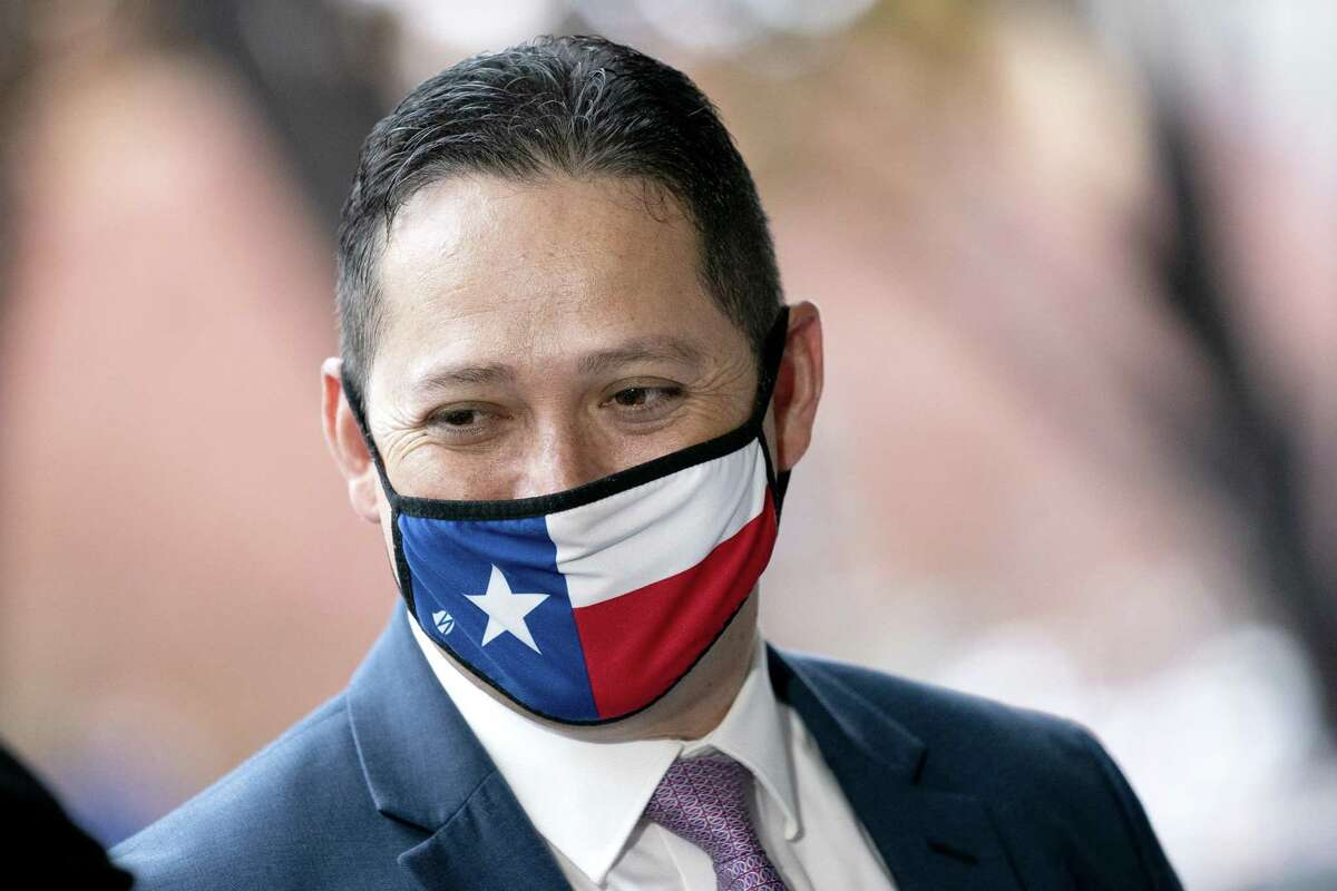 Representative-elect Tony Gonzales, a Republican from Texas, wears a protective mask while arriving for a new member orientation in Washington, D.C., on Thursday, Nov. 12, 2020. Senate Republicans this week released 12 bills to fund the government through next September, the first move toward negotiations with House Democrats that will be vital to avoiding a federal shutdown next month.