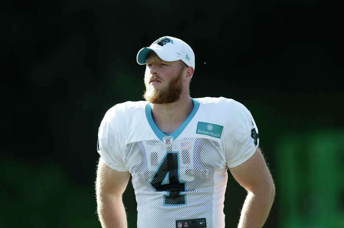 Carolina Panthers' Joey Slye (4) is seen during an NFL football training camp with the Buffalo Bills in Spartanburg, S.C., Wednesday, Aug. 14, 2019. (AP Photo/Gerry Broome)