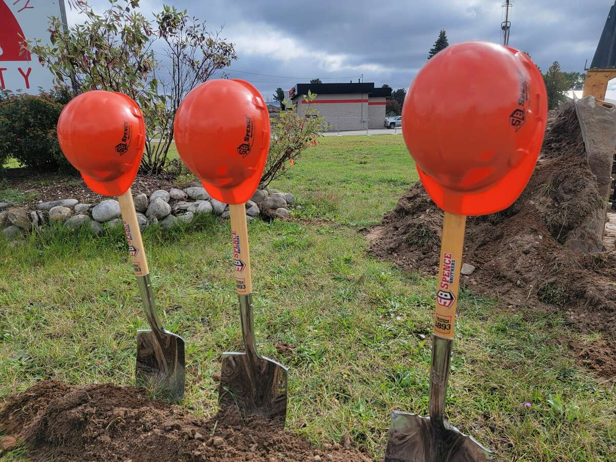 Shovels and construction hats await the groundbreaking at BACN's new building location.