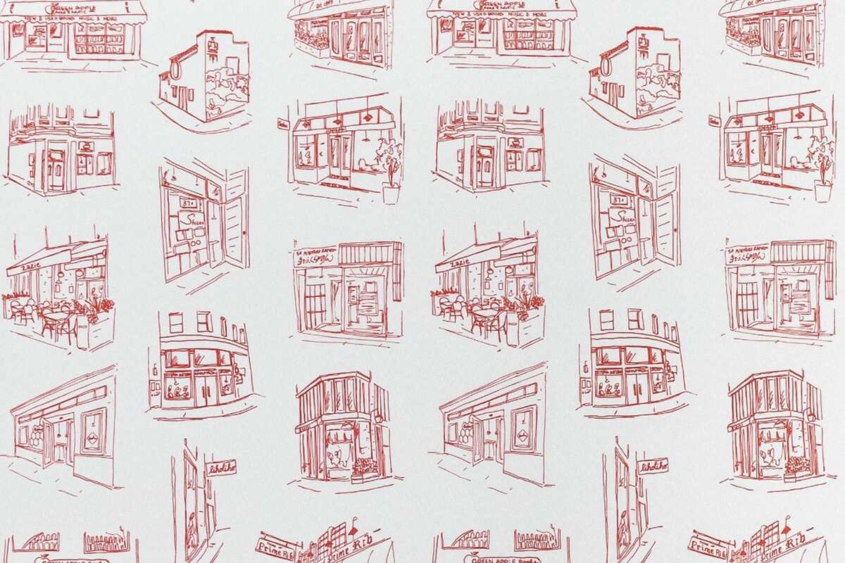 Iconic San Francisco restaurants and businesses featured on a wallpaper collaboration with Yelp and Chasing Paper.