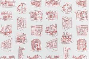 Iconic San Francsico restaurants and businesses featured on a wallpaper collaboration with Yelp and Chasing Paper.