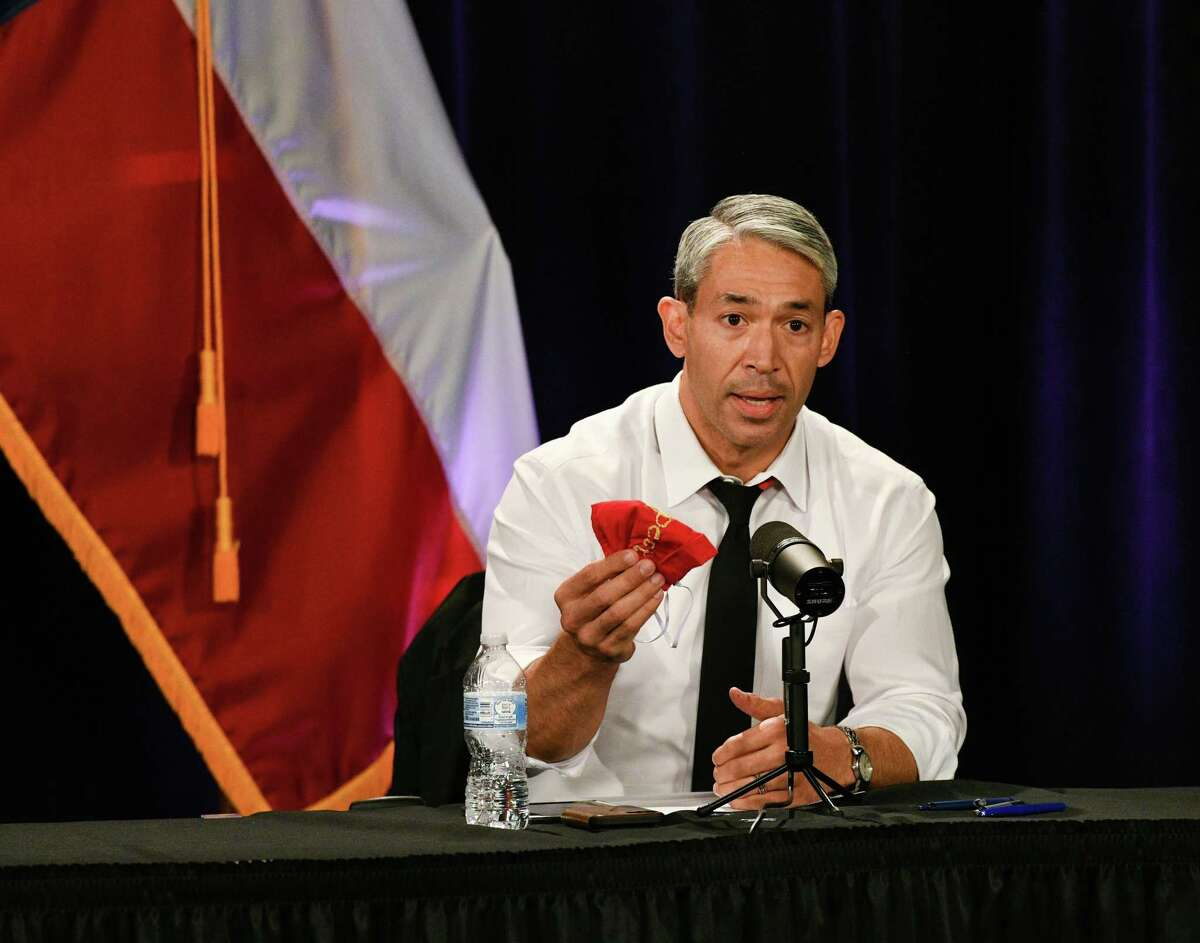 San Antonio Mayor Rob Nirenberg appeals to people to wear masks during a televised COVID-19 briefing in January.