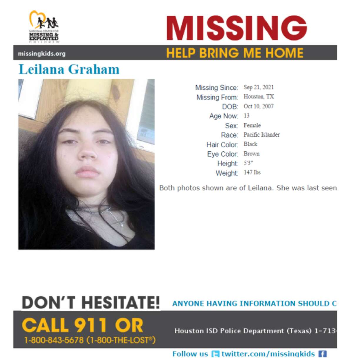 An Amber Alert was issued for 13-year-old Leilana Graham of Houston on Oct. 5, 2021.