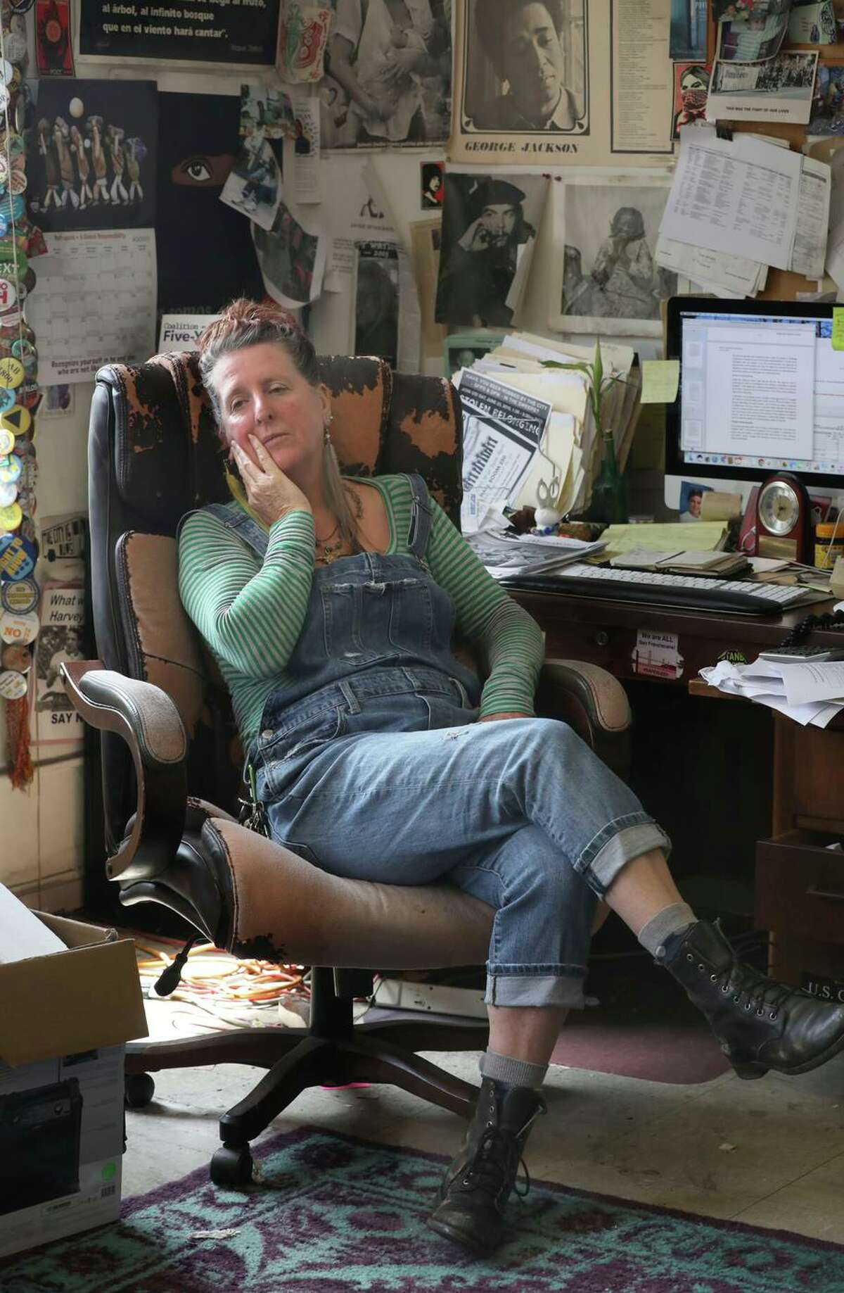 Director Jennifer Friedenbach of Coalition on Homeless talks with staff in the office on Monday, Aug. 5, 2019, in San Francisco, Calif. Coalition on Homeless have lost their lease and have to move by October.