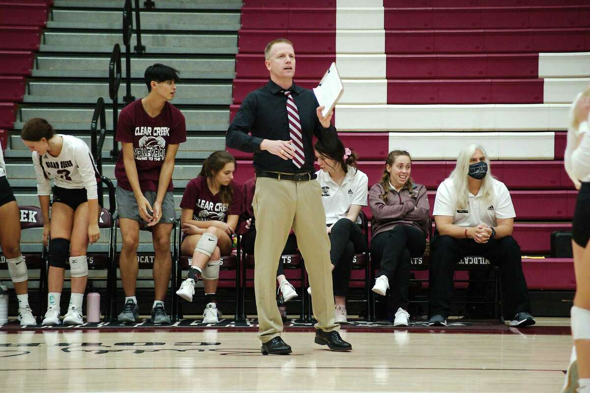 Clear Creek volleyball coach Scott Simonds watches as the Lady Wildcats play Brazoswood Tuesday at Clear Creek High School.