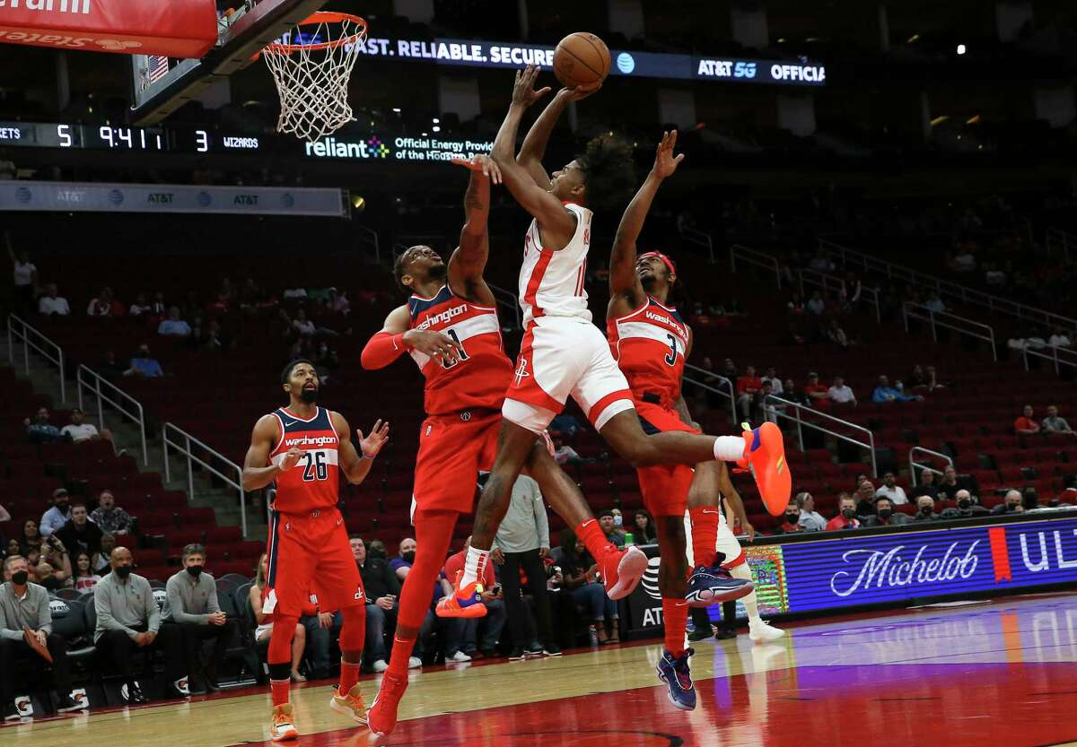 Rockets rookie Jalen Green played his first game at Toyota Center in Tuesday's preseason-opening win over the Wizards and flashed the talent that made him the second pick in this year's draft.