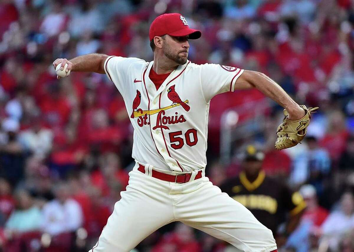Adam Wainwright of the St. Louis Cardinals pitches during the first inning against the San Diego Padres at Busch Stadium on Saturday, Sept. 18, 2021, in St. Louis, Mo. (Jeff Curry/Getty Images/TNS)