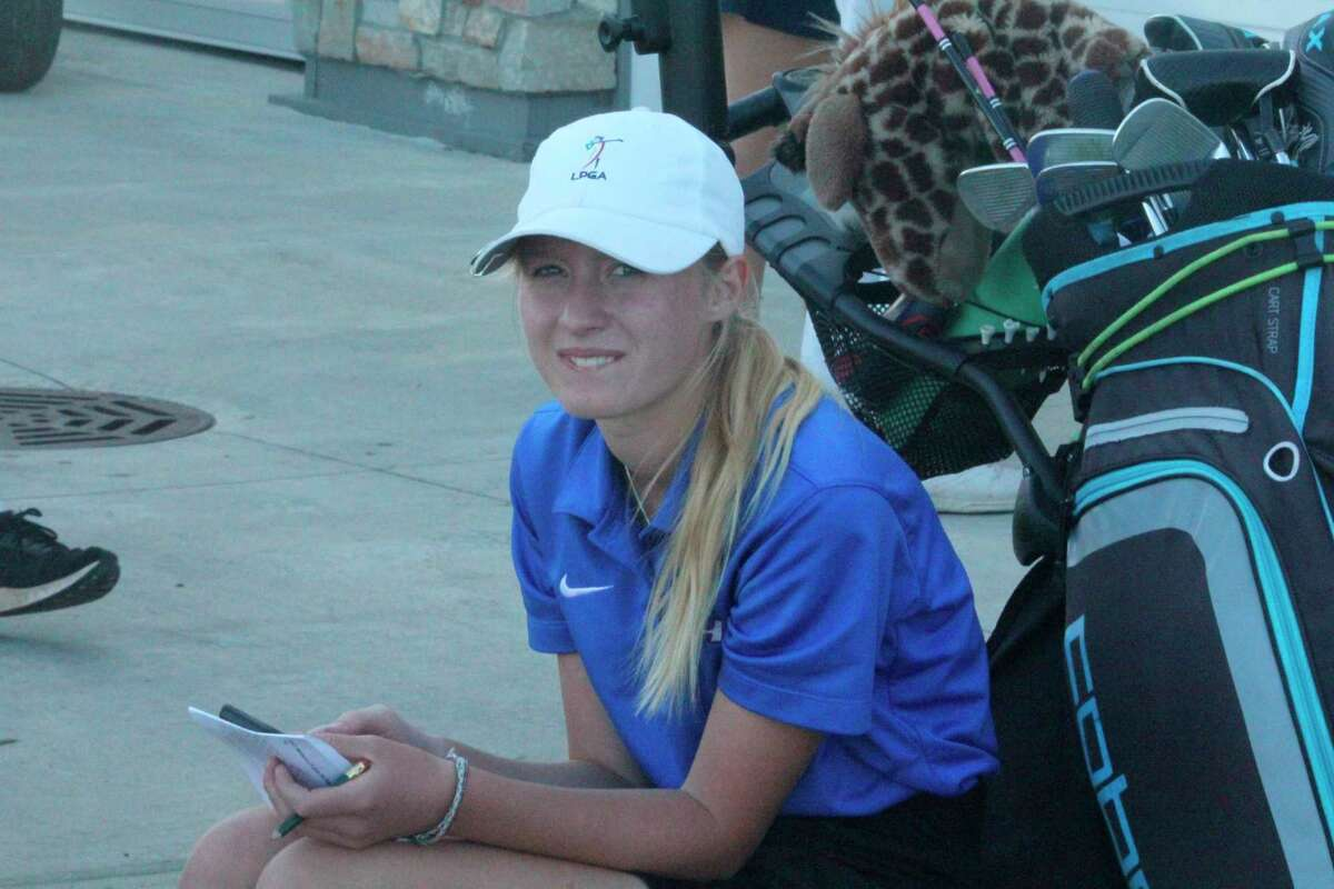 Chippewa Hills' Madison Allen relaxes after shooting an 86 at Katke Golf Course in Tuesday's Division 4 regional. (Pioneer photo/John Raffel)