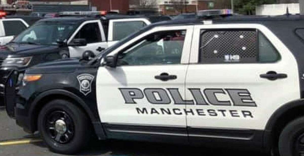 A dark colored sedan was seen fleeing the area of Lyness Street in Manchester, Conn., on Monday, Oct. 4, 2021, at a high rate of speed after gunshots were fired, according to police.
