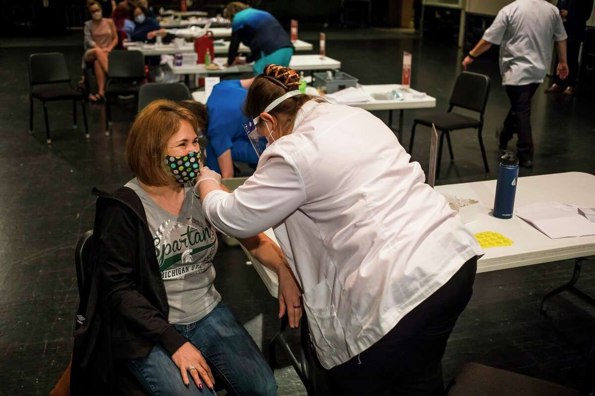 Hundreds of people received the Pfizer COVID-19 vaccine during a March 2021 clinic held in partnership with Walgreens at the Midland Center for the Arts. (File photo/Midland Daily News)