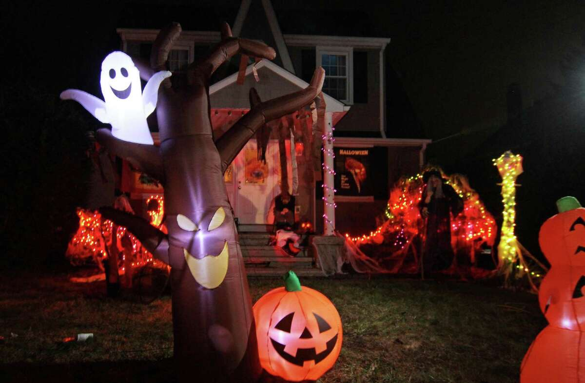Some residents decided to hold Halloween in their front yard at a home in Bethel, Conn., on Saturday Oct. 31, 2020.