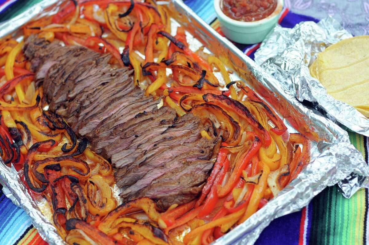 Sheet Pan Fajita Flank Steak with Peppers and Onions
