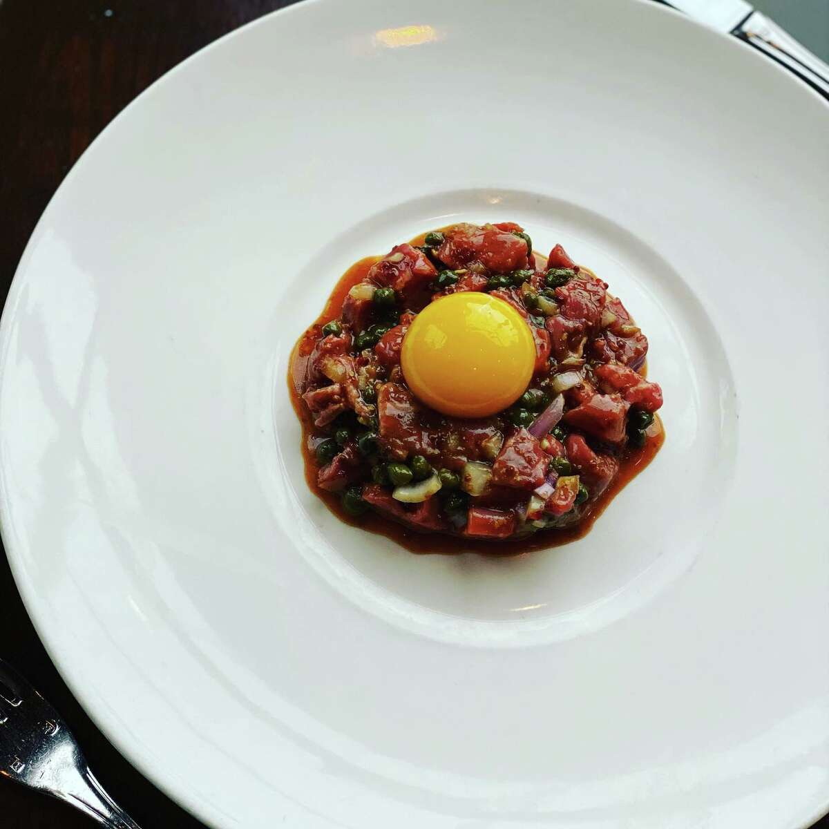 The dish that started a viral video: Beef tartare at dp: An American Brasserie in Albany.