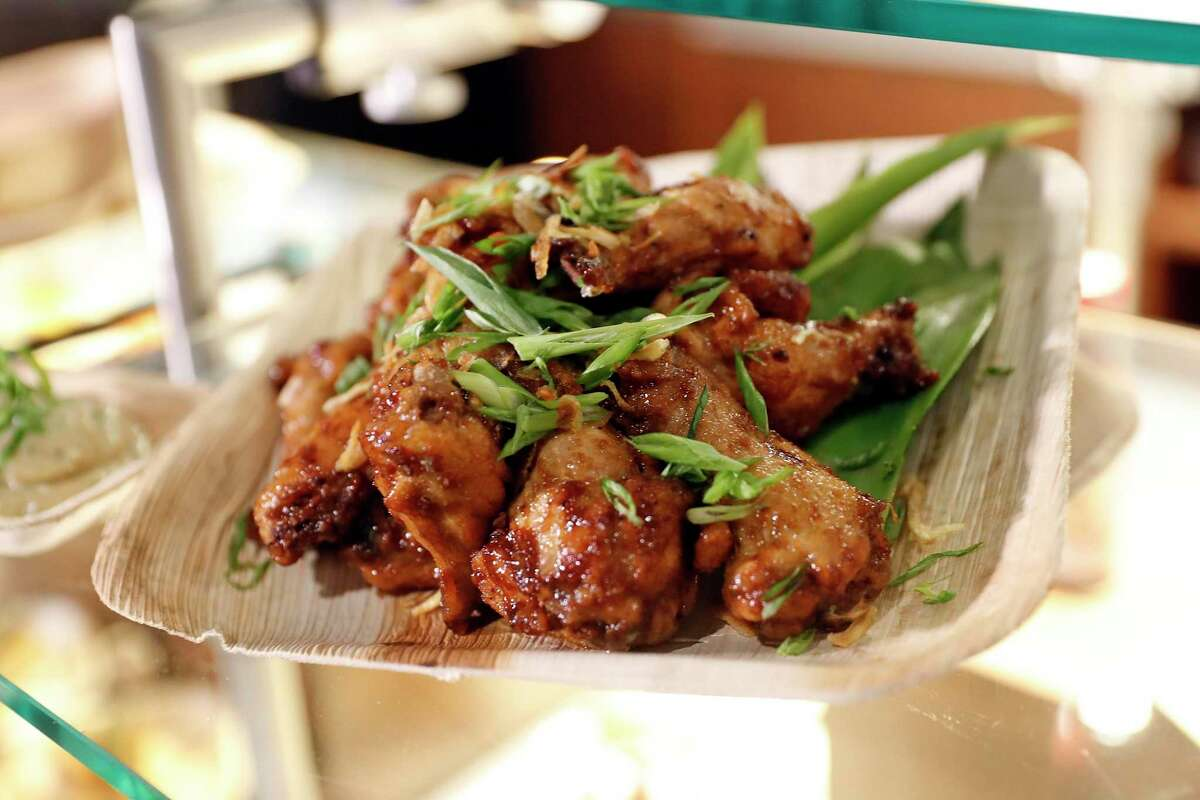 Adobo wings from Wings & Woks, a new wok-cooked wings menu available at the Chase Center in San Francisco.