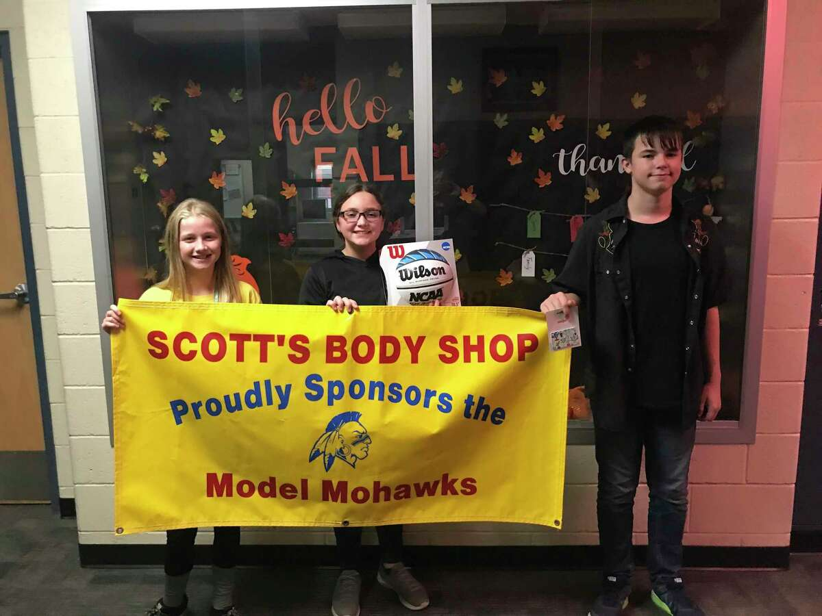 Morley Stanwood Middle School's September Model Mohawks: Liberty Wheeler and Emma Parker, 6th grade; and Xavier Harris, 8th grade. (Courtesy photo)
