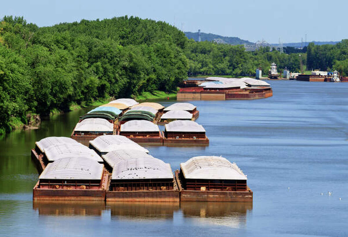Barges await movement on the Illinois River in this file photo. The U.S. Corps of Engineers has approved deepening the Lower Mississippi River, allowing bigger vessels further up into the river and improving barge traffic. Plans also are underway for a port in Cairo, Illinois, scheduled to open in late 2024.