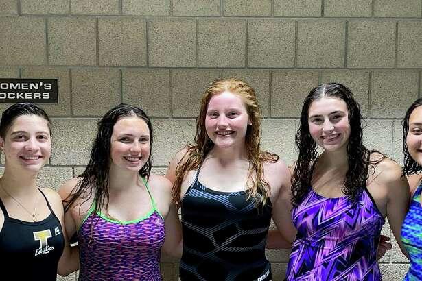 Olivia Zint, Erin Racicot, Lauren Walsh, Nora Hampford and Kailey Caballero captain Trumbull's girls swim & dive team.