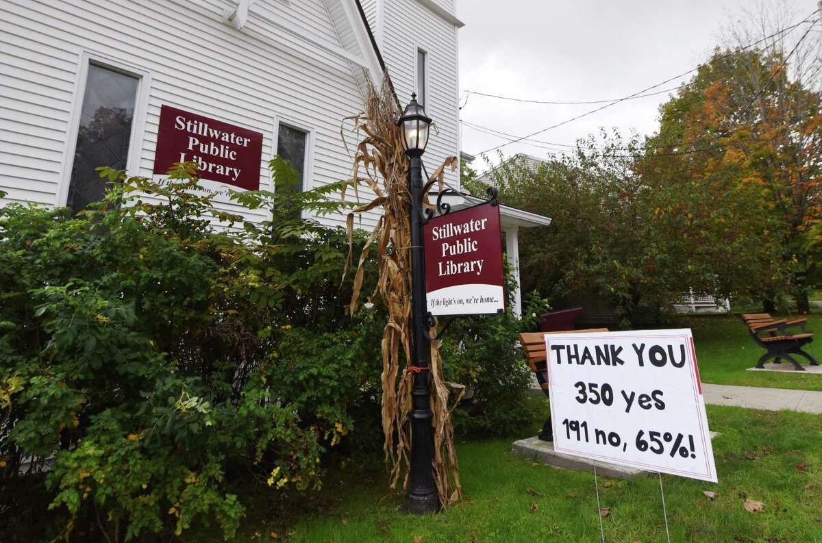 A sign outside the Stillwater Public Library thanks voters for approving construction of a new expanded library on Wednesday, Oct. 6, 2021, in Stillwater, N.Y. The move would allow Stillwater to offer services that most libraries already provide.