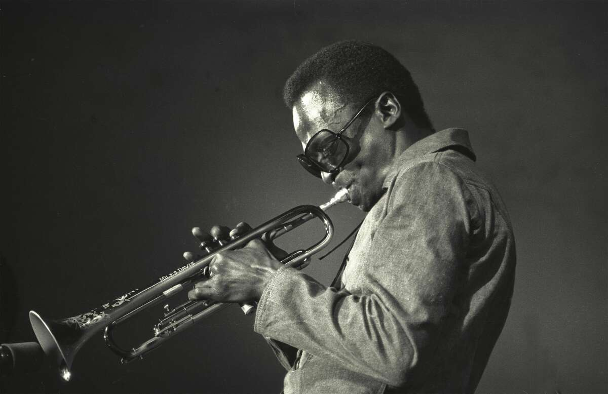 """American jazz musician Miles Davis (1926 - 1991) was born in Alton, Ill. and now has a statue in the city. Davis was also raised in East St. Louis, Ill. Davis is famous for his multiple albums, including """"Kind of Blue"""" and """"Round About Midnight"""" and is a Rock and Roll Hall of Famer. (Photo by Jack Vartoogian/Getty Images)"""
