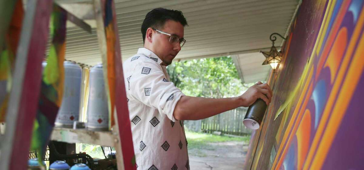 San Antonio artist Alan Calvo. who is crafting a giant mural installation for the Alameda Theater, was partly inspired by his father's own artistic appreciation for the Alameda.