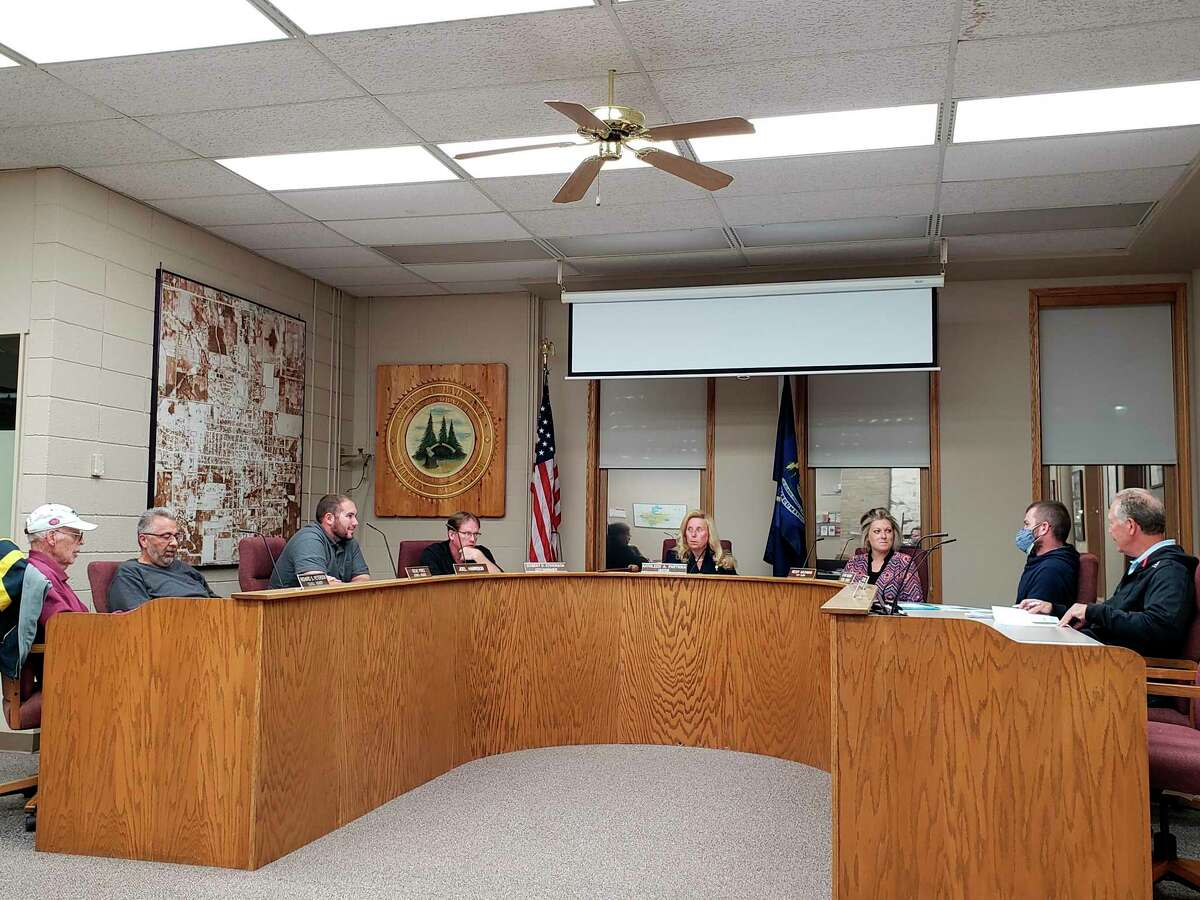 The Bad Axe City Council before this week's meeting, where they discussed the ruling the state tax tribunal made regarding the city's Walmart superstore. The city is appealing the judgement, which stated that the store's taxable and state equalized value is 50% less than previously listed. (Robert Creenan/Huron Daily Tribune)