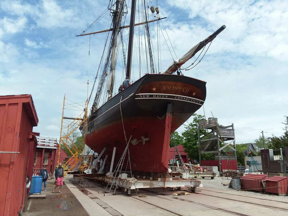 The Freedom Schoooner Amistad, a replica of the original ship, is in drydock at Mystic Seaport.