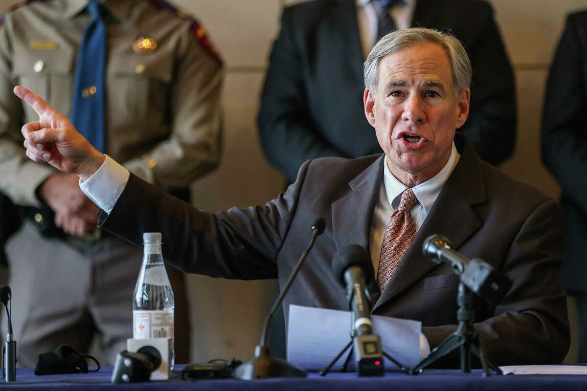 Gov. Greg Abbott speaking in March about immigration and border security. His efforts to arrest migrants on trespassing charges has turned into an assault on due process and civil liberties.