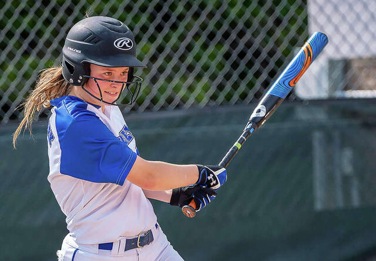 Lewis and Clark's Madeline Strieker gets a hit during spring action. Strieker, a sophomore pitcher and outfielder, and her LCCC teammates just finished 5-3-2 in fall scrimmage games.