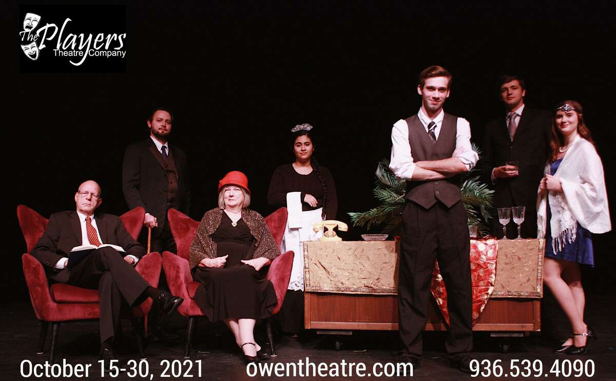 """The Players Theatre company opens the suspense thriller """"Rope"""" Oct. 15 at the Owen Theatre. Pictured from left are Mark Wilson as Sir Johnstone Kentley, Jacob Lewis as Rupert, K. Becky Meredith as Mrs. Debenham, Emily Sanchez as Miss Sabot, Caleb Glass as Brandon, Bryan Allred as Raglan and Hannah Cook as Leila. Not pictured is Kevin Downs as Granillo."""