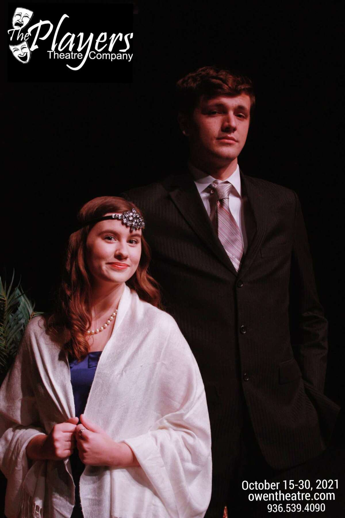 """Hannah Cook as Leila and Bryan Allred as Raglan in The Players' """"Rope"""" opening Oct. 15 at the Owen Theatre."""