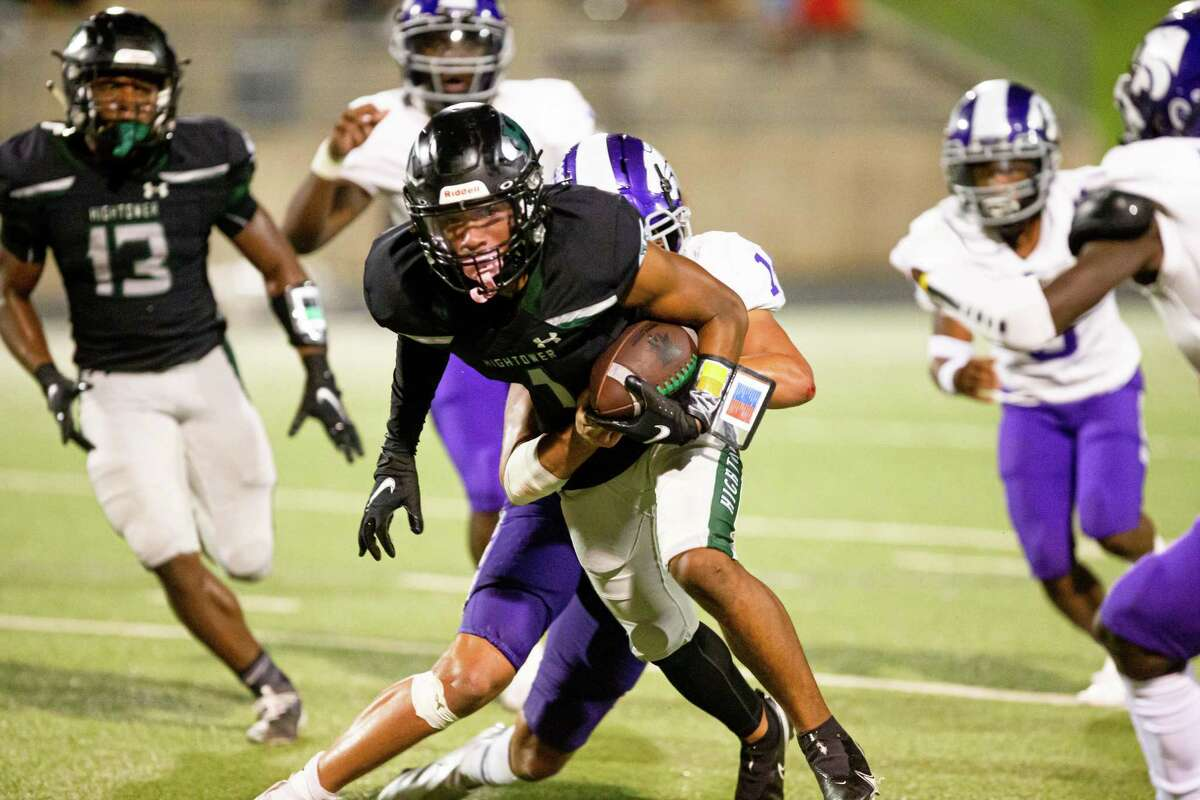 Hightower Hurricanes WR Kaleb Johnson (1) is tackles during the second half of action between Angleton vs. Fort Bend Hightower during a District 10-5A Division I high school football game at the Hall Stadium, Saturday, October 2, 2021, in Missouri City. Hightower Hurricanes defeated Angleton Wildcats 18-16. (Juan DeLeon/Contributor)