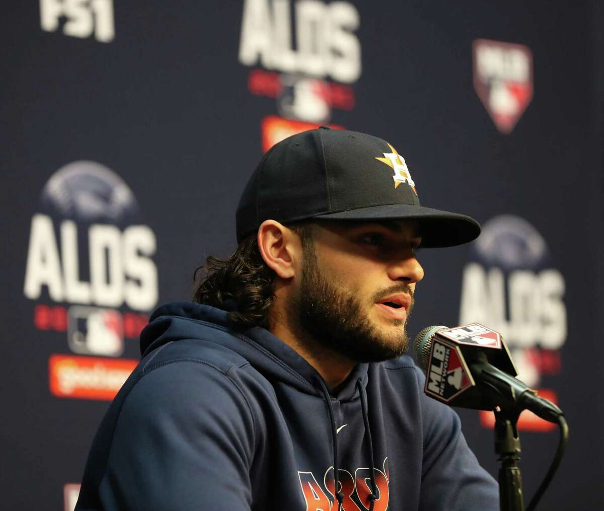 Houston Astros pitcher Lance McCullers Jr. speaks to the media before batting practice ahead of Game 1 of the American League Division Series playoffs at Minute Maid Park, Wednesday, Oct. 6, 2021, in Houston.
