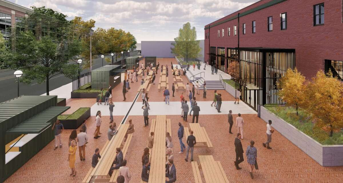 The beer garden will feature converted shipping containers where patrons can purchase food and drink.