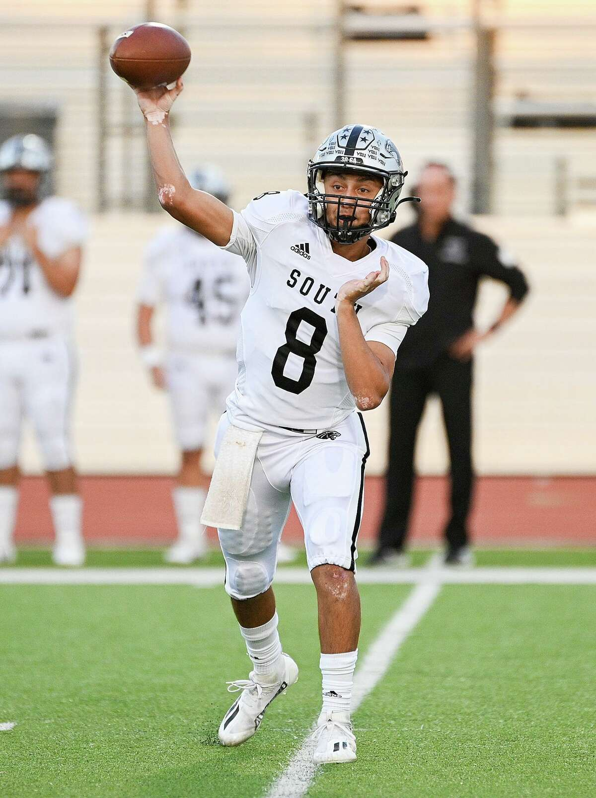 Luis Cisneros, United South QB The Panthers knew Luis Cisneros could be a difference maker this year. And through six games of his varsity career, Cisneros has proven his coaches and teammates right. The sophomore gunslinger has arguably the best arm in Laredo as he has completed 65.4 percent of his passes for 1,121 yards, nine touchdowns and a mere two interceptions. His performance has earned him a 109.2 quarterback rating, according to United South coaches. Cisneros tried out for United South's football team as a freshman, but the coaches felt he was too raw and didn't make the roster. So, Cisneros decided to hone his skills at home by doing passing drills in his family's backyard. His hard work has paid off this year as he has completely transformed the Panther offense. If he continues his current trajectory, Cisneros could easily walk away with the All-City MVP award.