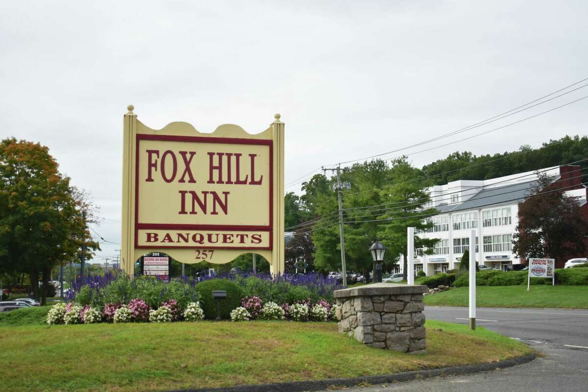 Fox Hill Inn's sign on Federal Road in Brookfield, Conn.