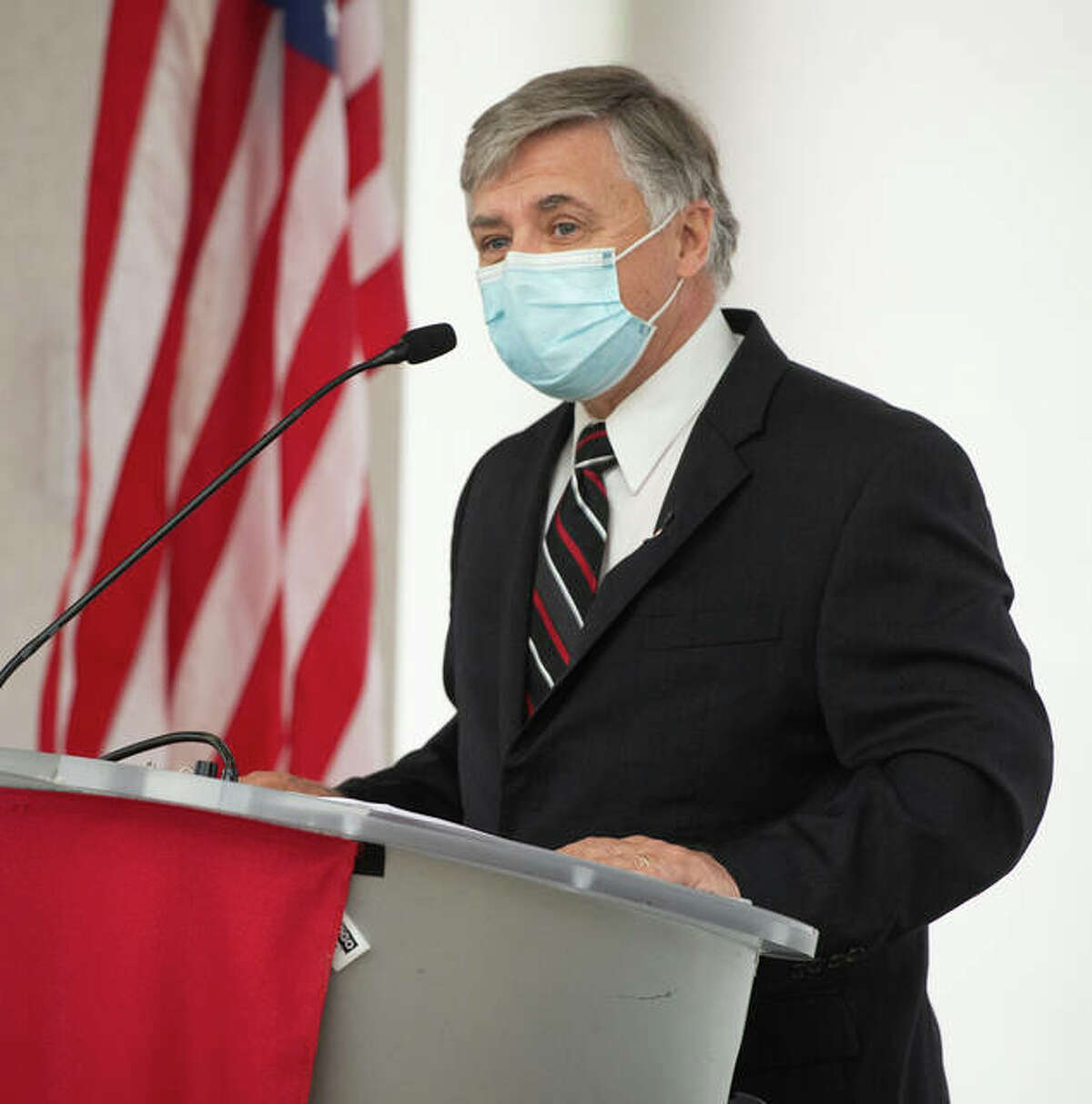 Southern Illinois University Edwardsville Chancellor Randy Pembrook centered his final University Address on Tuesday.