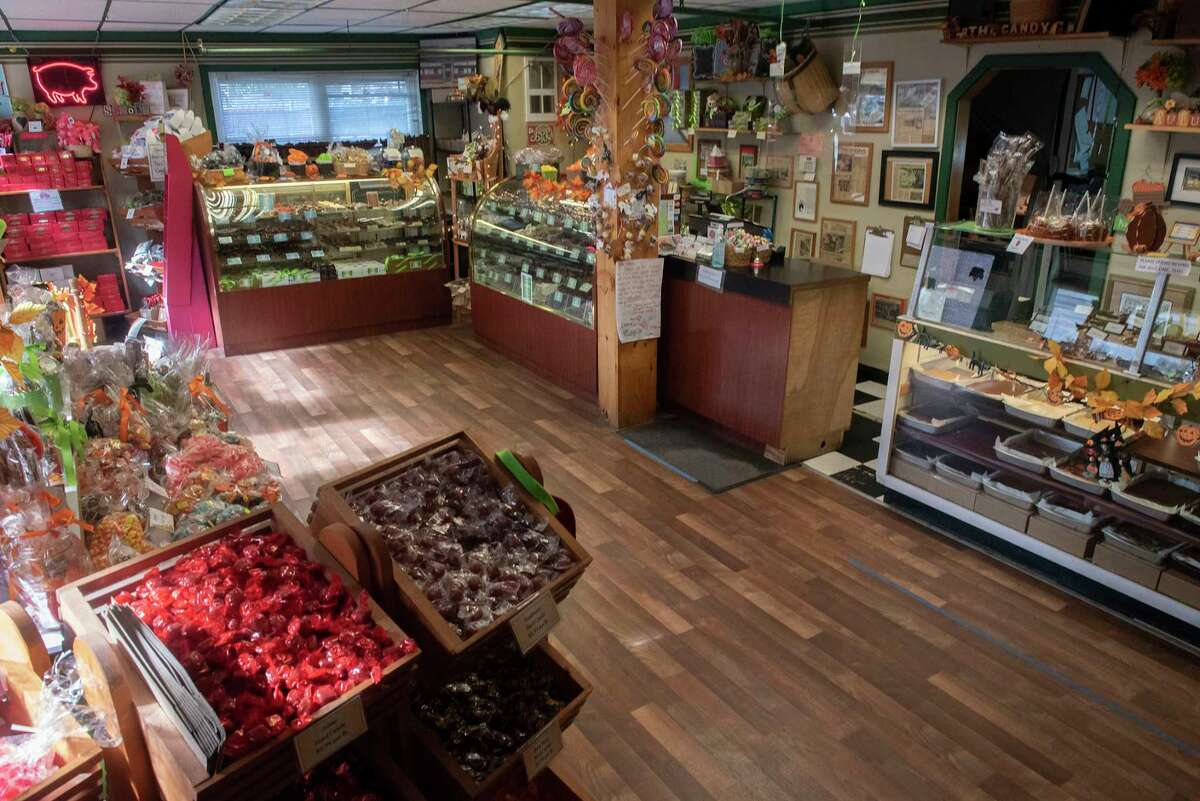"""Interior of The Saratoga Candy Co. on Wednesday, Oct, 6, 2021 in Saratoga Springs, N.Y. Shop owner Dawn Oesch says she'll take the """"adorable, retro"""" feel of her current location (pictured) to her new spot. Her business will be on Broadway temporarily before eventually settling into a new space back on Washington Street in about two years."""