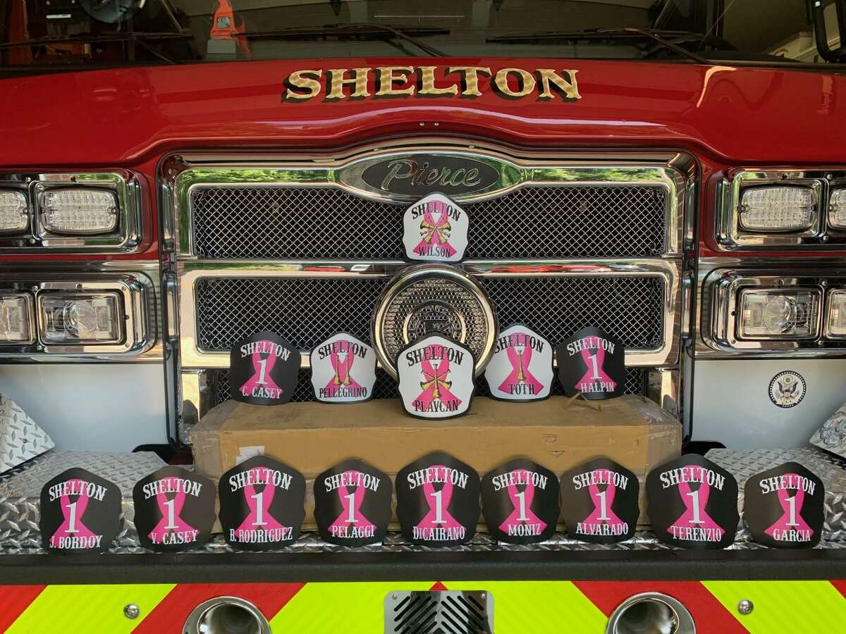 Shelton firefighters will be donning the pink ribbon - the universal symbol of breast cancer, illustrating the cause, raising awareness and bringing together women in solidarity - on their helmets throughout October, which is Breast Cancer Awareness Month.
