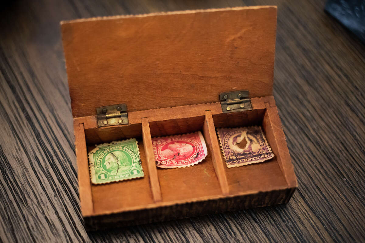 Cindy Warrick's collection of over 90 small boxes includes music boxes, stamp boxes, sewing kits, makeup compacts and more. (Katy Kildee/kkildee@mdn.net)