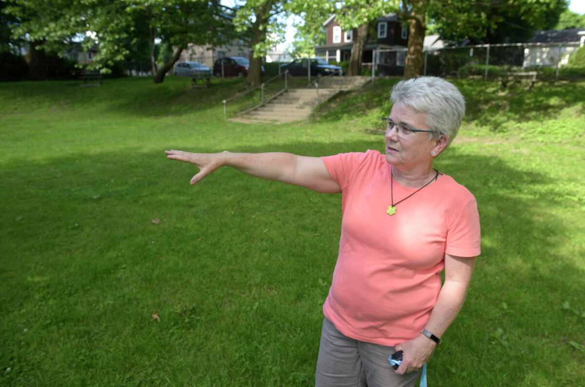 Parks and Recreation Department Director Eileen Earle in Parloa Park in Bethel, Conn., in 2019.