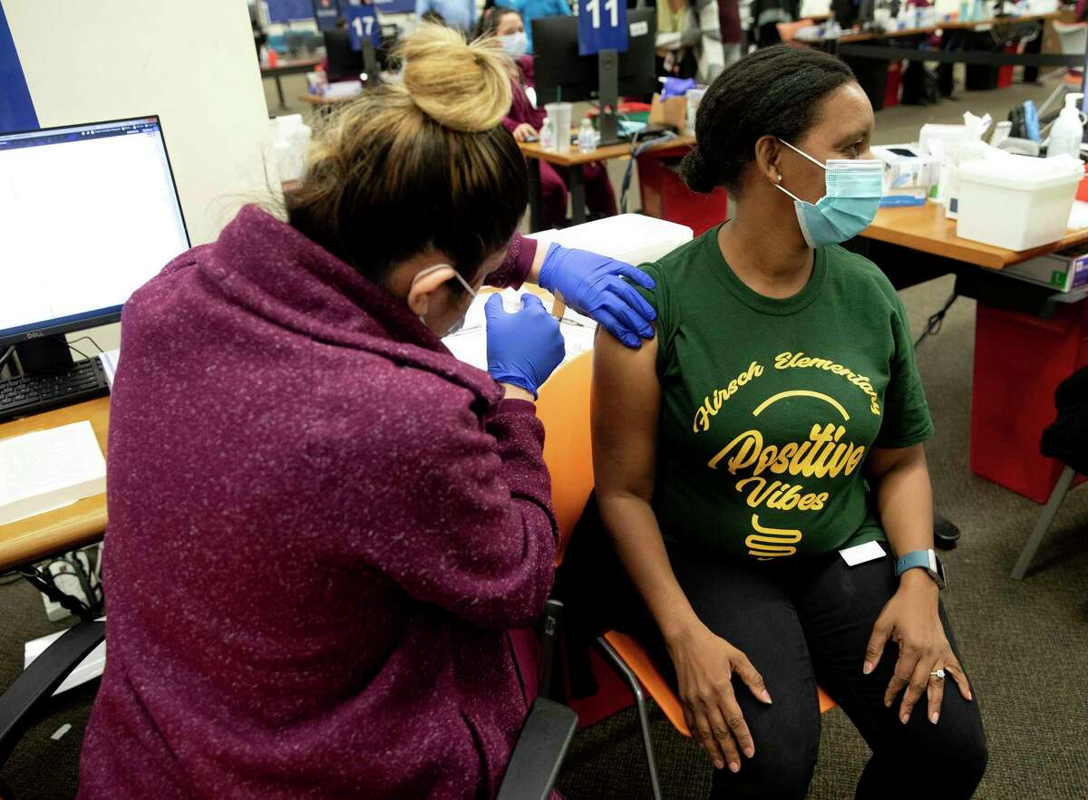 Najentel Chaisson, a reading instructional coach for SAISD, was one of about 5,000 school district employees who got their vaccines at a two-day event in March at Wonderland of the Americas Mall.