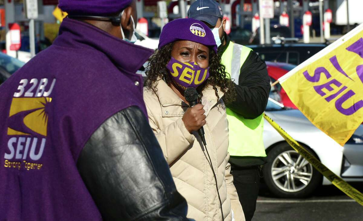 Members of SEIU local 32BJ including Assistant District Leader Rochelle Palache join McDonald's franchise workers as they strike Tuesday, November 24, 2020, during an Rally & Caravan over safety concerns during the COVID spike and Thanksgiving travel season at the I-95 CT Northbound Service Plaza in Norwalk, Conn. Workers have been organizing with 32BJ SEIU to win union recognition, better treatment, pay and benefits.
