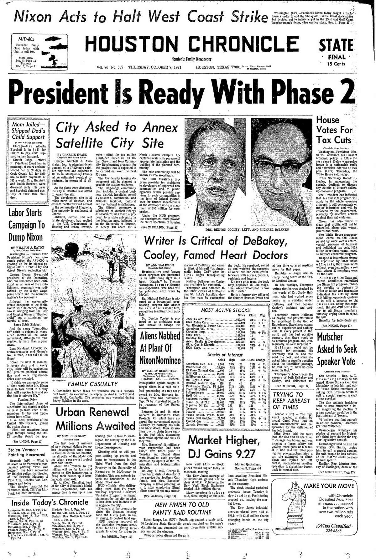 Houston Chronicle front page for Oct. 7, 1971.