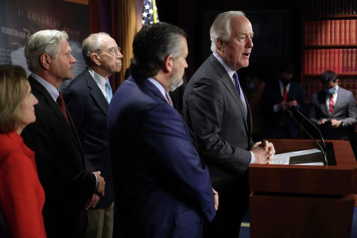 WASHINGTON, DC - OCTOBER 06: U.S. Sen. John Cornyn (R-TX) speaks during a news conference at the U.S. Capitol October 6, 2021 in Washington, DC. Senate Republicans held a news conference to discuss immigration issues on the border. (Photo by Alex Wong/Getty Images)